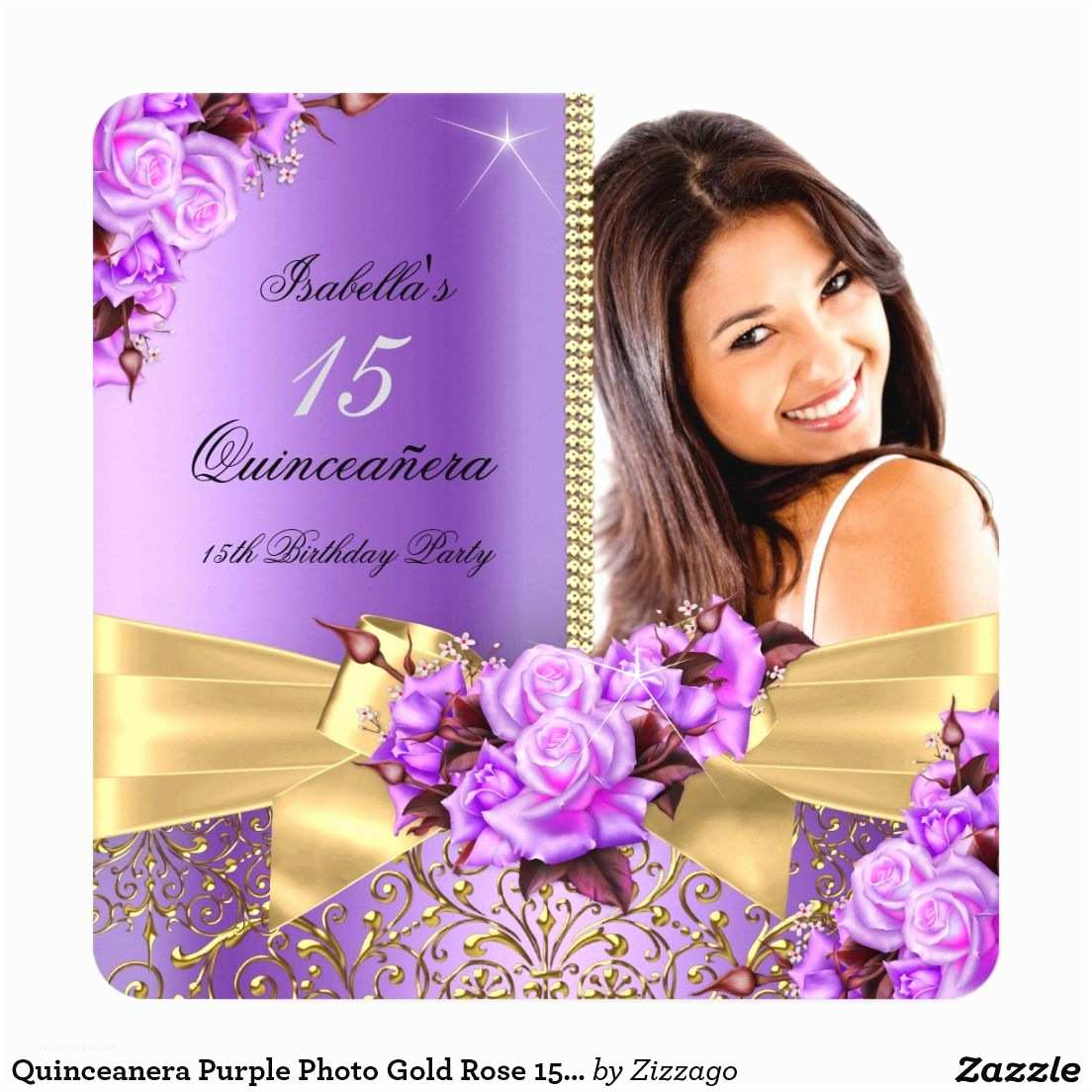 15th Birthday Party Invitations Quinceanera Purple Gold Rose 15th Birthday Card