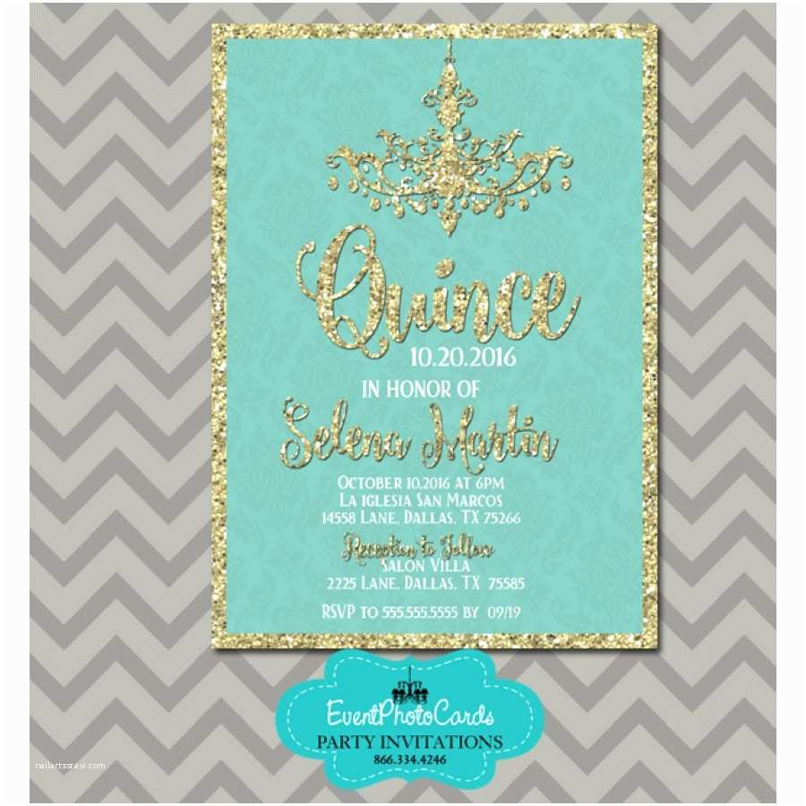 15th Birthday Party Invitations Teal & Gold 15th Birthday Invitations Chandelier Invites