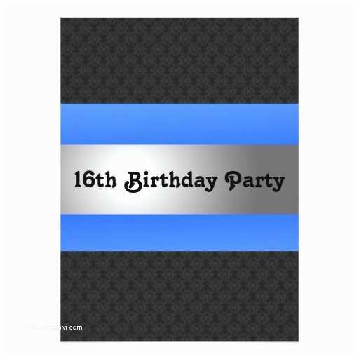 16th Birthday Invitations Boy S 16th Birthday Party Invite