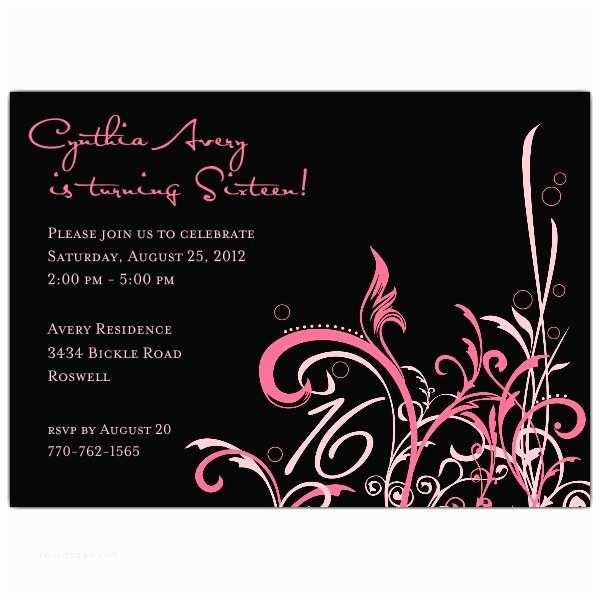 16th Birthday Invitations Cabiri Pink 16th Birthday Invitations