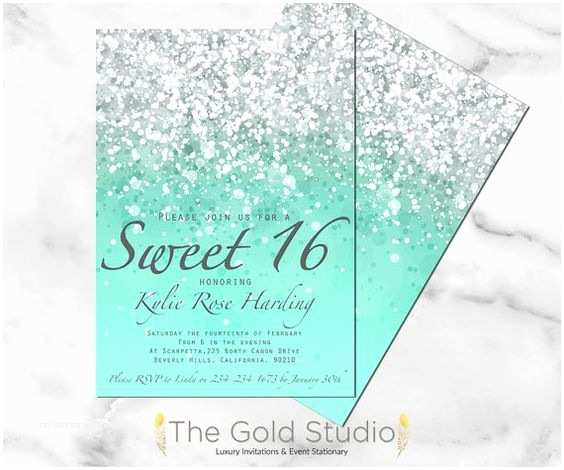 16th Birthday Invitations Printable Sweet 16 Invitation Mint Green Glitter Sweet