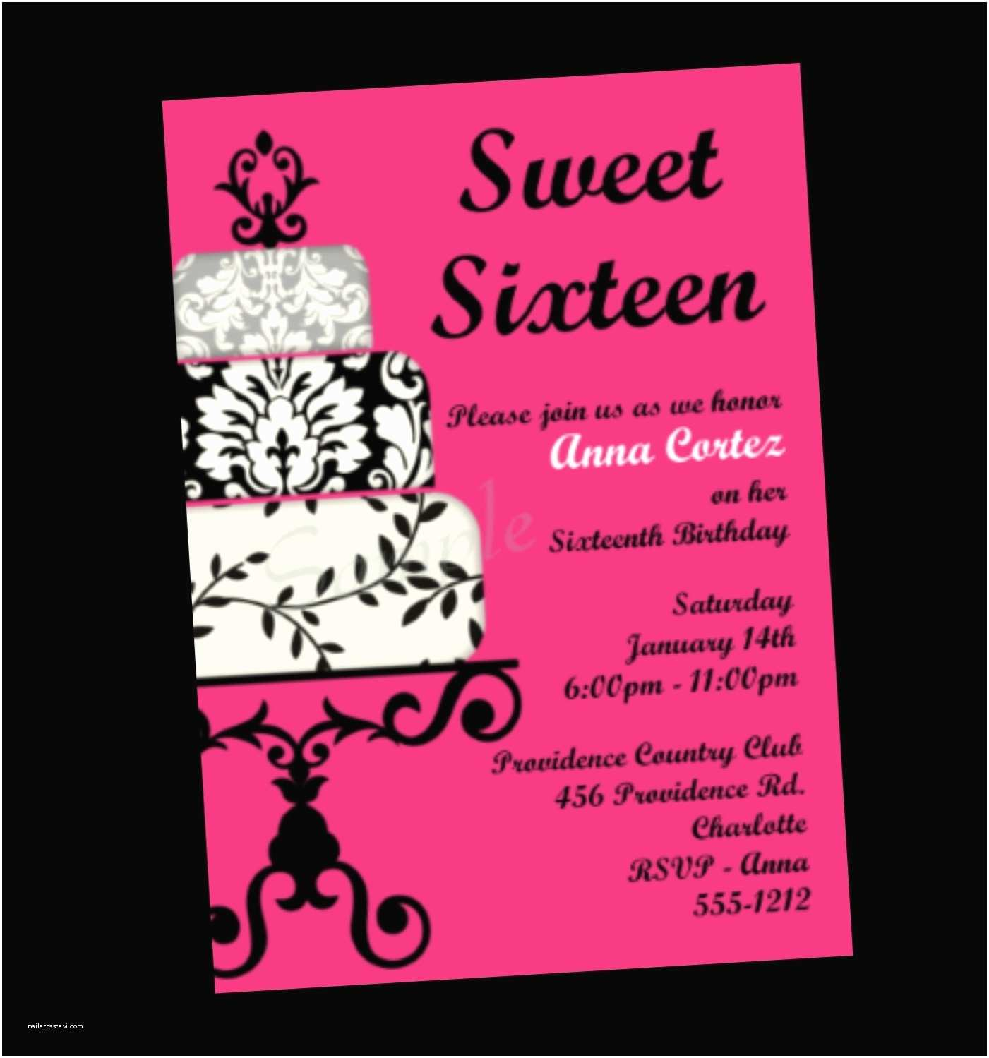 16th Birthday Invitations Sweet 16 Birthday Invitation Sweet Sixteen Party by