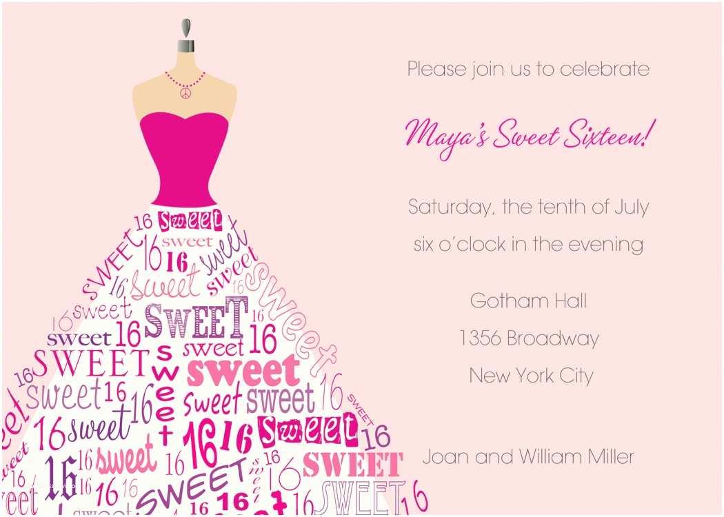 16th Birthday Invitations Sweet 16th Birthday Invitations Templates Free