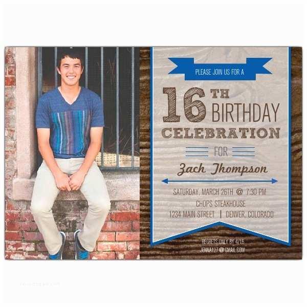 16th Birthday Invitations Woodsy Banner Boys 16th Birthday Invitations