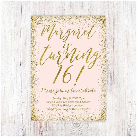 Th Birthday Party Invitations Th Birthday Invitation Pink And Gold Glitter Sweet