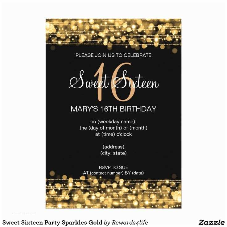 16th Birthday Party Invitations 21 Best Gold Sweet Sixteen Invitations Images On Pinterest