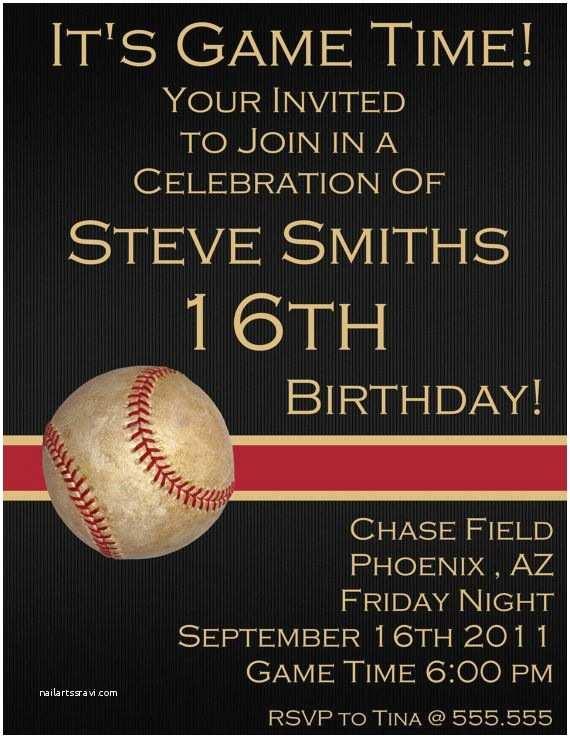16th Birthday Party Invitations Baseball Sixteenth Digital Birthday Invitation by