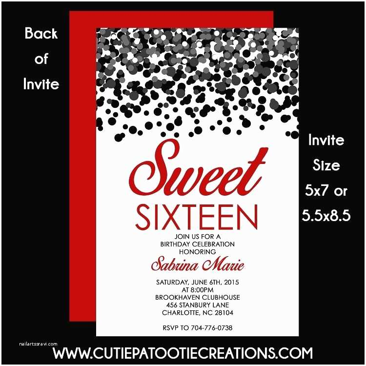 16th  Party Invitations Black And Red Confetti Sweet 16 Sixteen