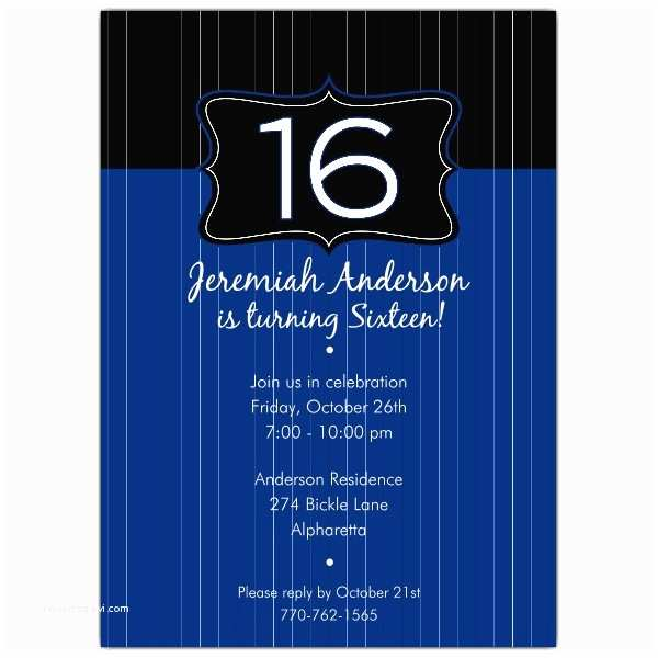 16th Birthday Party  Black Emblem Blue 16th Birthday