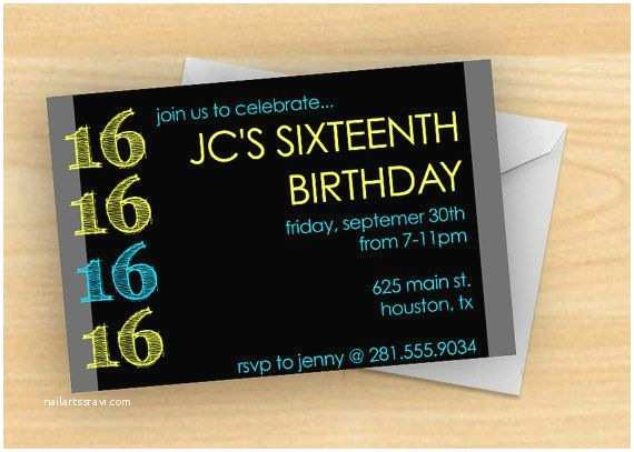 16th Birthday Party Invitations Bold And Bright Boy S 16th Birthday Party Invitation