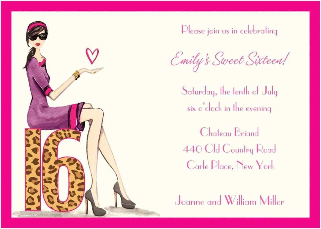 16th Birthday Party Invitations Free Sweet 16 Invitation Templates