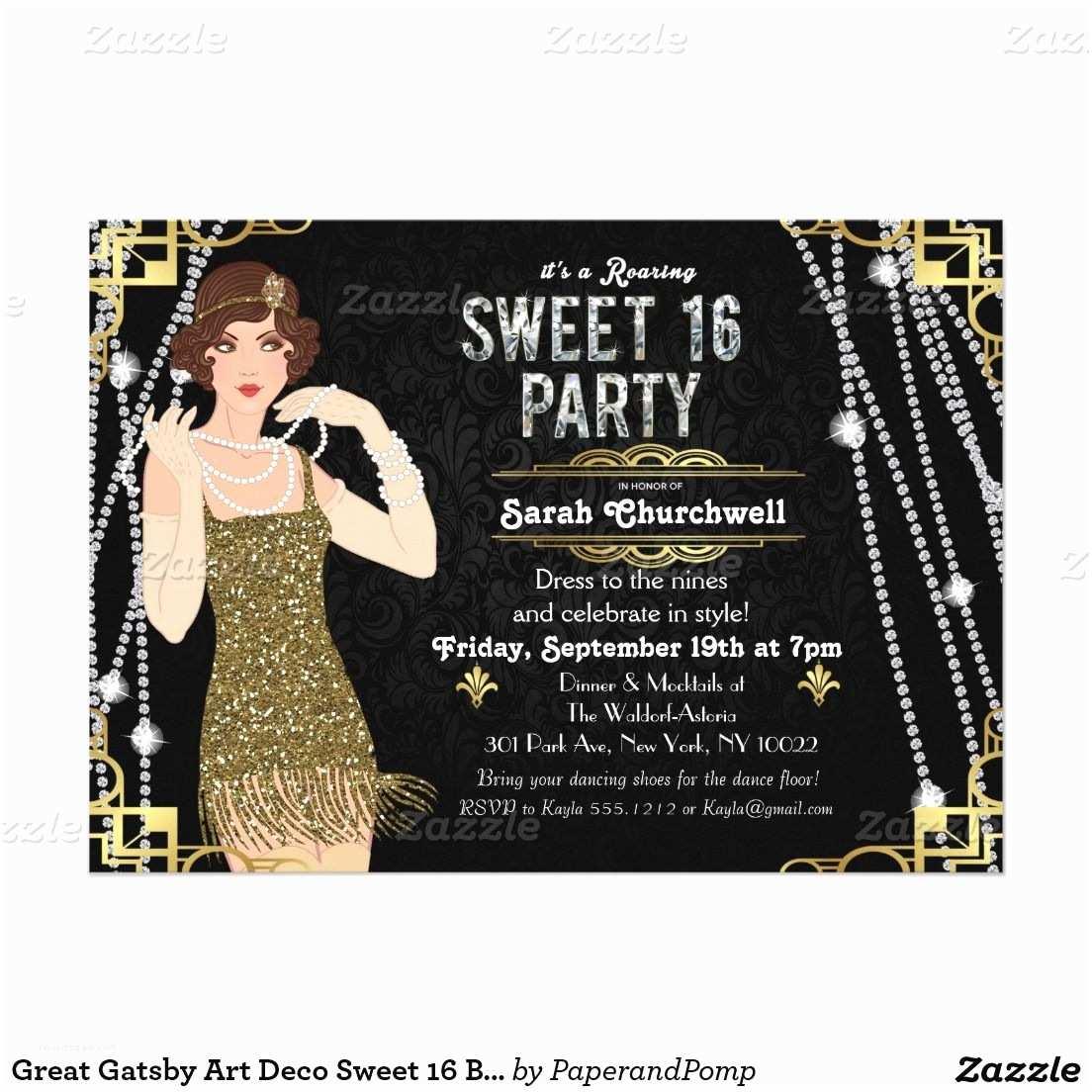16th Birthday Party Invitations Great Gatsby Flapper Sweet 16 Birthday Invitation