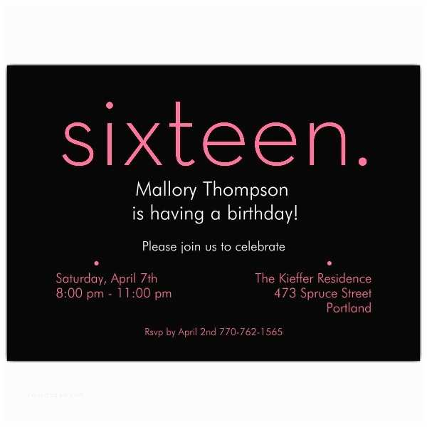 16th Birthday Party Invitations Sixteen Pink On Black 16th Birthday Invitations