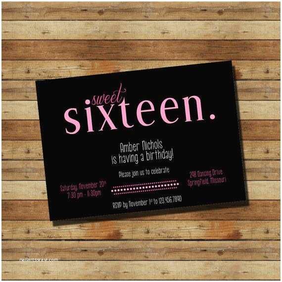 16th Birthday Party Invitations Sweet Sixteen 16th Birthday Party Invitation Digital File