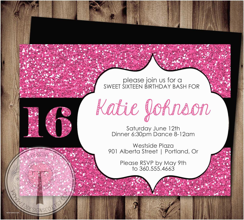 Birthday Party Invitations Sweet Sixteen Birthday Invitation Sweet 16 Birthday