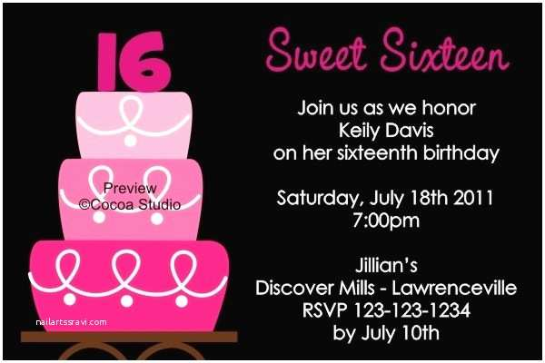 16th Birthday Party Invitations Sweet Sixteen Invitation Wording Template