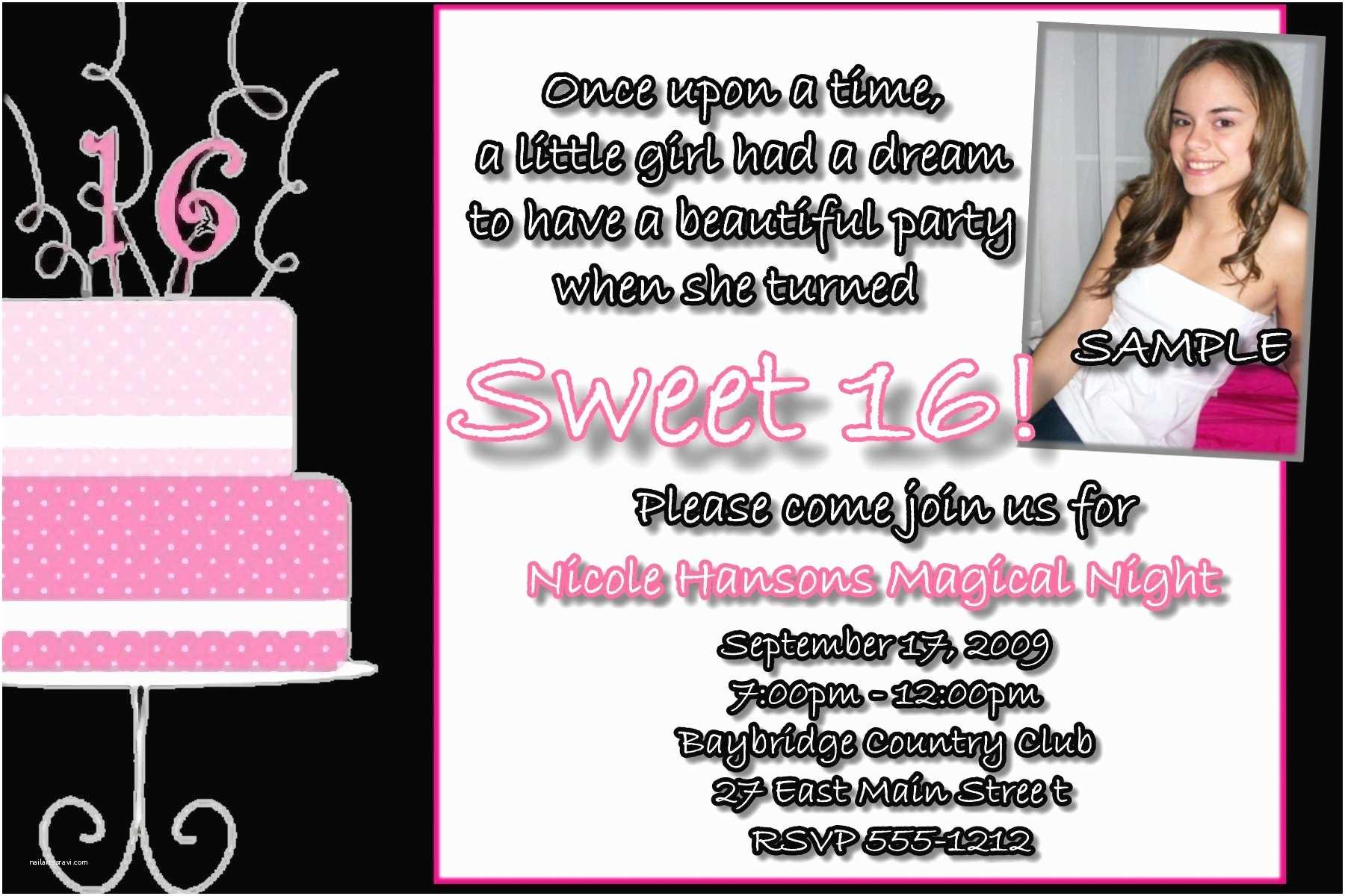 16th Birthday Party Invitations Sweet Sixteen Invitation Wording Template Resume Builder