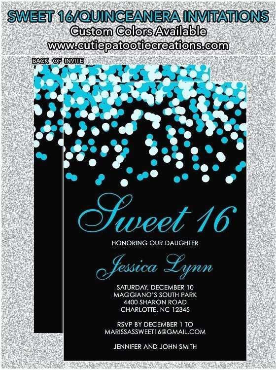 16th Birthday Party Invitations Tiffany Blue & Black Confetti Sweet 16 Invitations Sweet