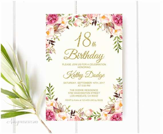 18th Birthday Invitations Invitation Floral Cream