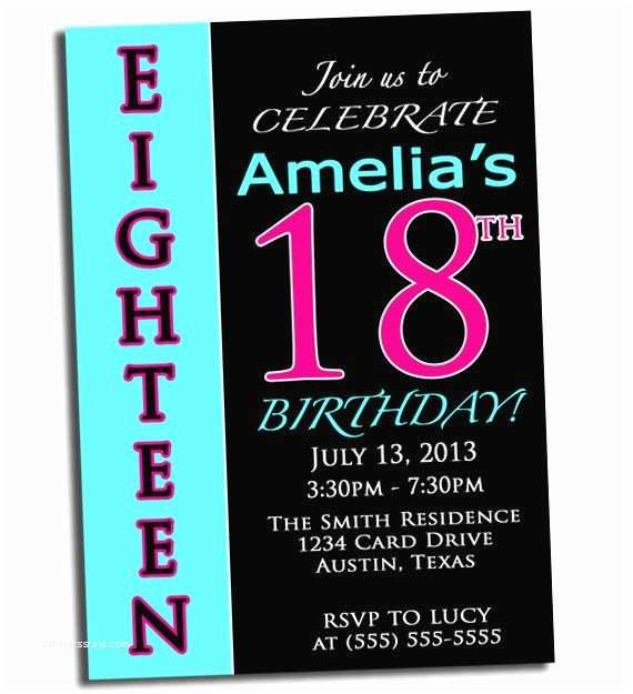 18th Birthday Party Invitations 18th Birthday Pink Black and Cyan Party Printable
