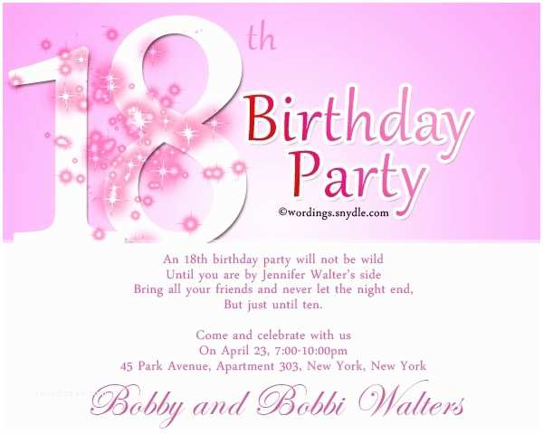 18th Birthday Party Invitations Invitation Letter 18th Birthday Sample