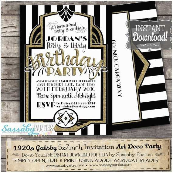 1920s Party Invitation Gatsby 1920s Art Deco Invitation Instant Download