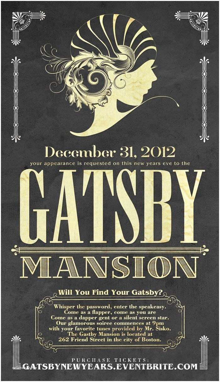 1920s Party Invitation The Gatsby Mansion New Years Eve Party