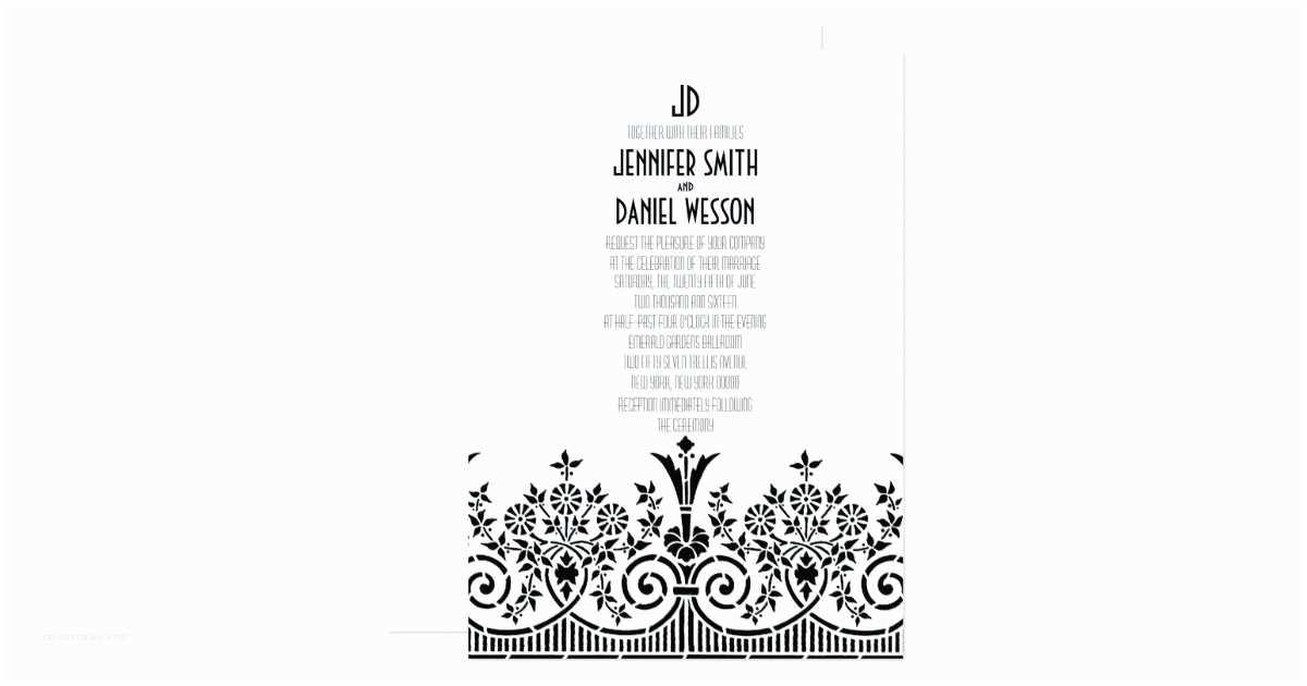 1920s Wedding Invitations 1920s theme Wedding Invitation Template