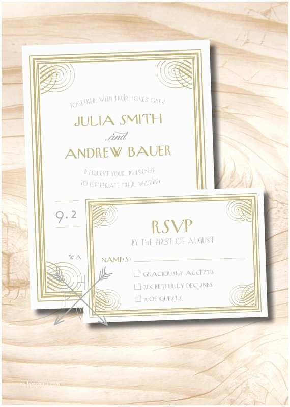 1920s Wedding Invitations Art Deco 1920s Gatsby Wedding Invitation and Response Card