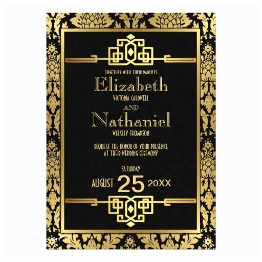 "1920s Wedding Invitations Golden Romance 1920s Art Deco Wedding Invitation 5"" X 7"