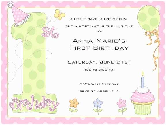 1st Birthday Invitation Wording Free Templates For
