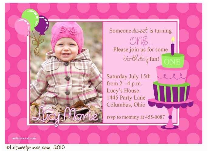 1st Birthday Invitation Wording Party Invitations Girl