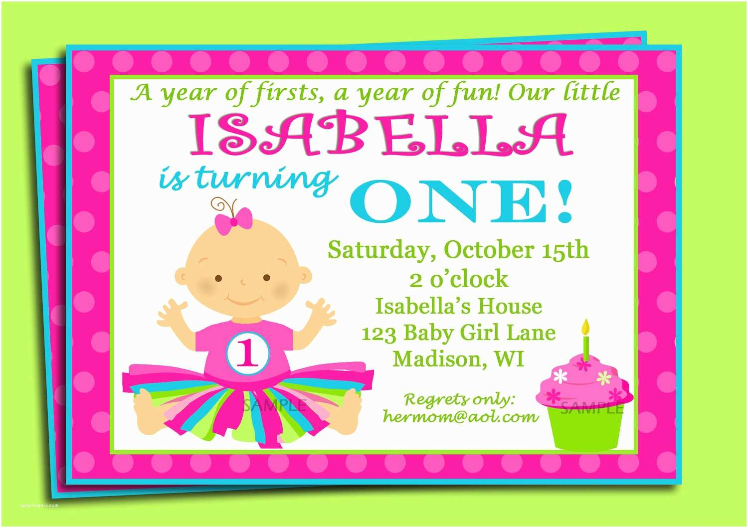 1st Birthday Invitation Wording First Birthday Invitation Printable or Printed with Free