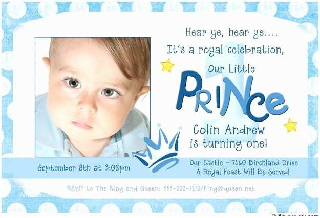 1st Birthday Invitation Wording Prince Twin Birthday Invitations Polka Dots Crown
