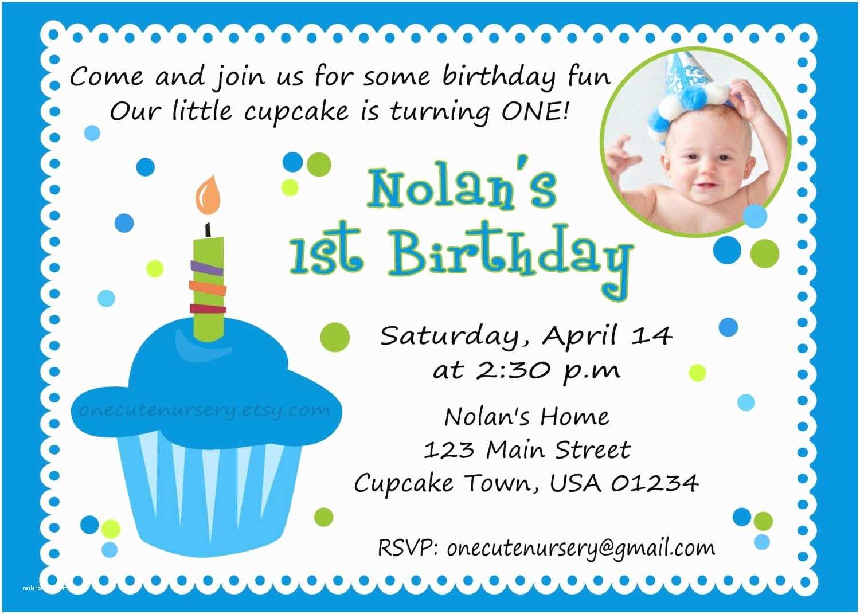 1st Birthday Invitation Wording Sweet Little Cupcake Boy Birthday Baby S First Birthday