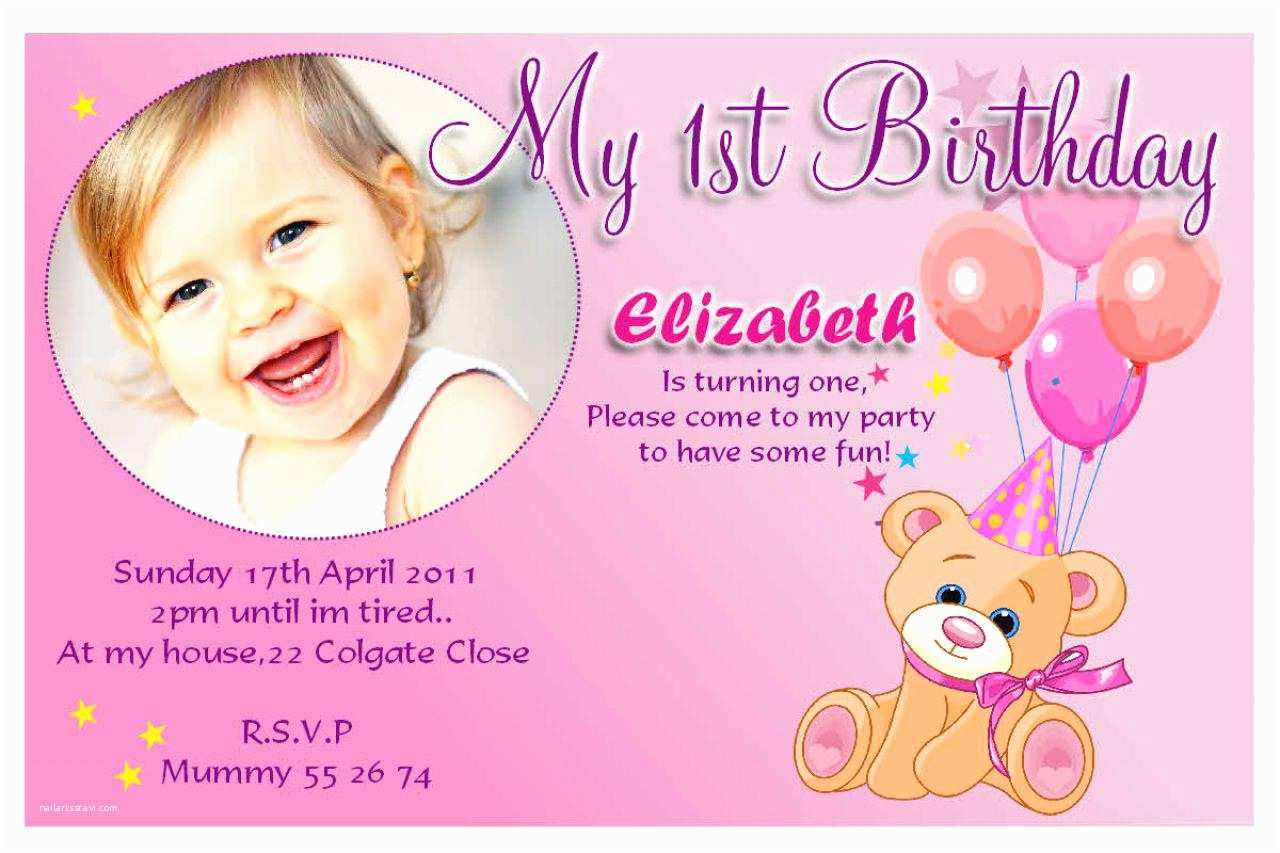 1st Birthday Invitations 20 Birthday Invitations Cards – Sample Wording Printable