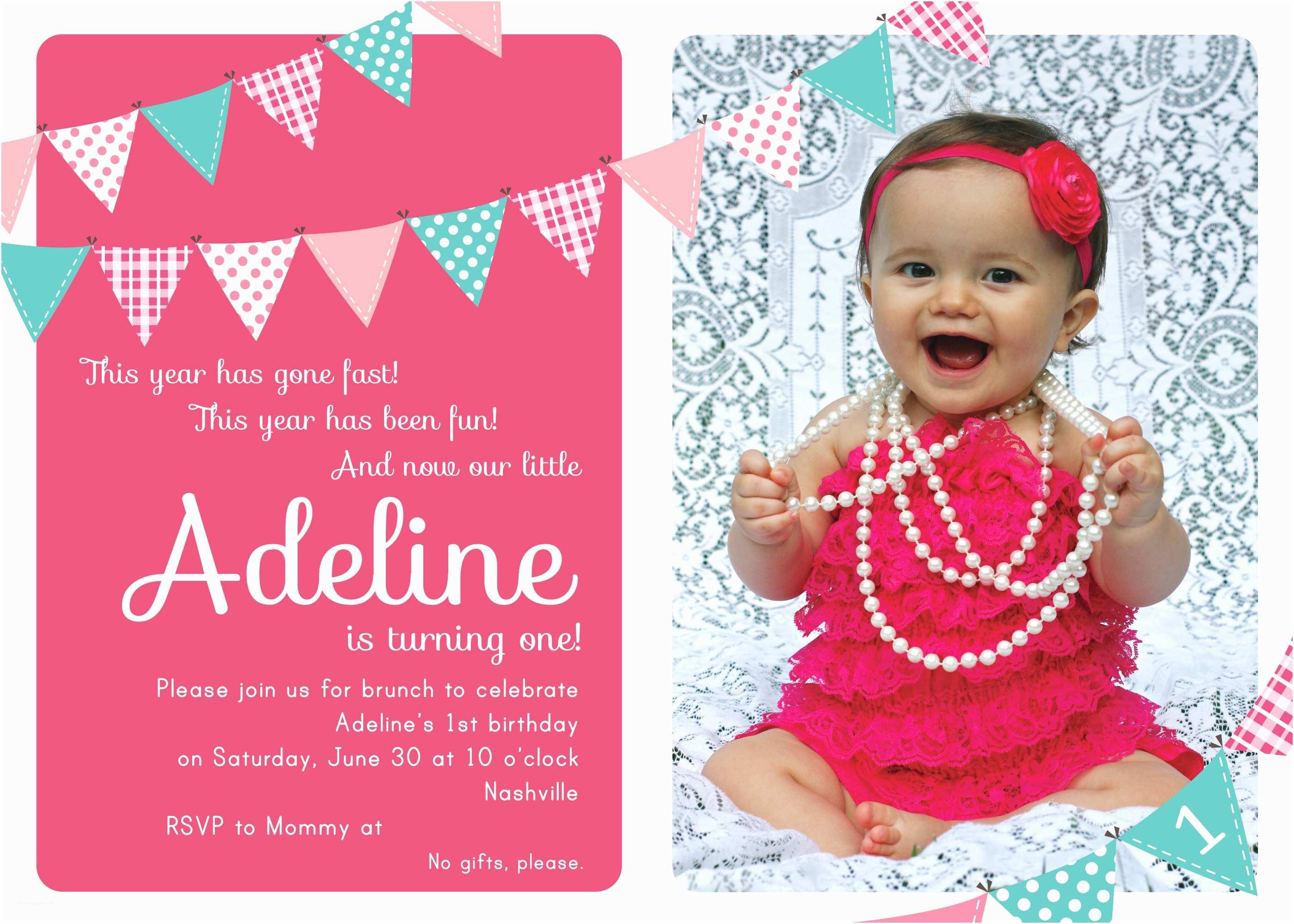 1st Birthday Invitations Baby Girl's 1st Birthday Invitation Cards Ideas