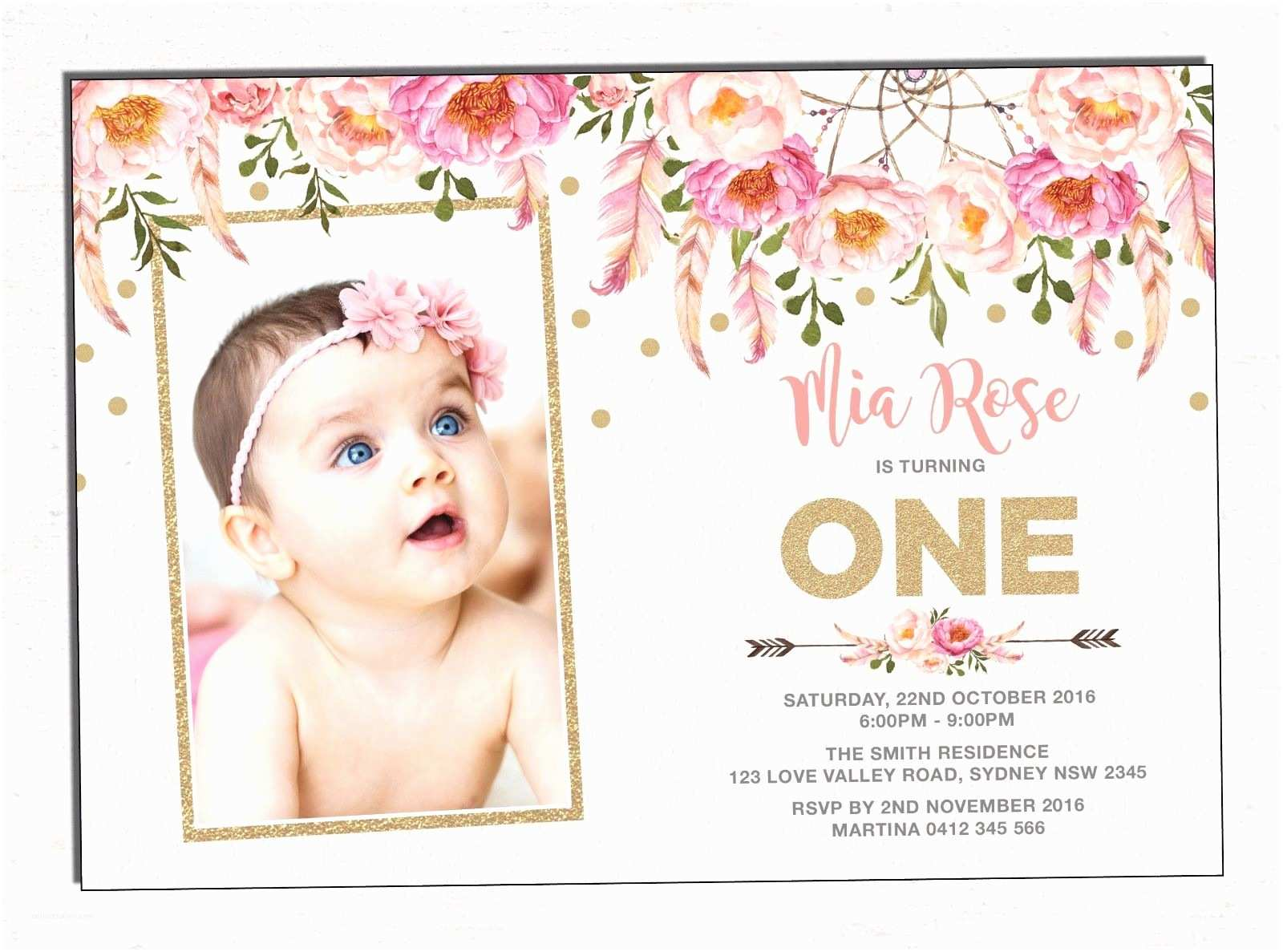 1st Birthday Invitations Boho First Invitation Pink Gold Floral Party