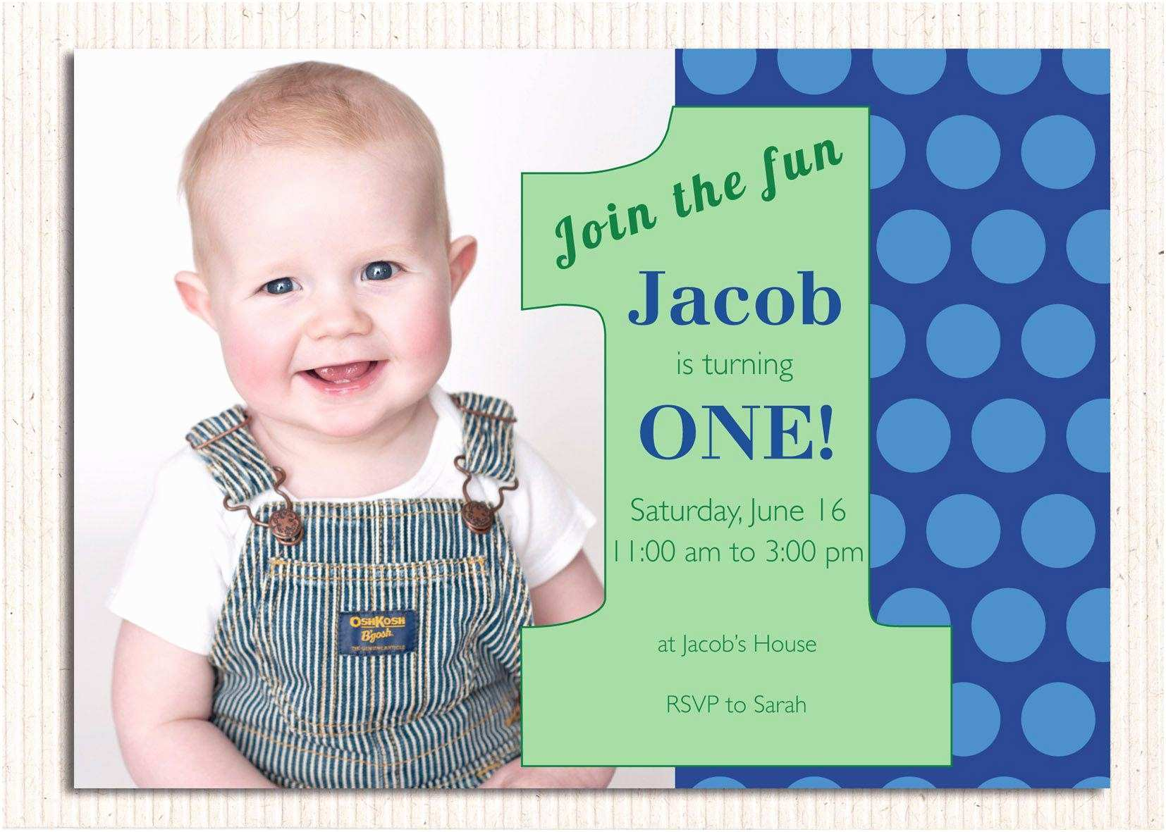 1st Birthday Invitations Boy 16 Best First Invites Printable Sample