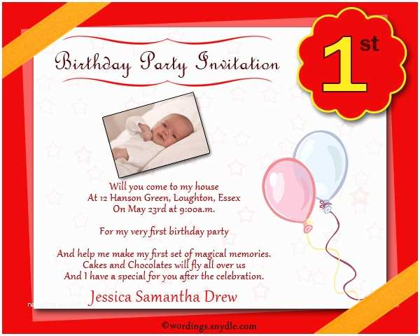 1st Birthday Invitations Boy Party Invitation Wording Wordings And Messages