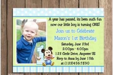 1st Birthday Invitations Boy Baby Mickey Mouse First