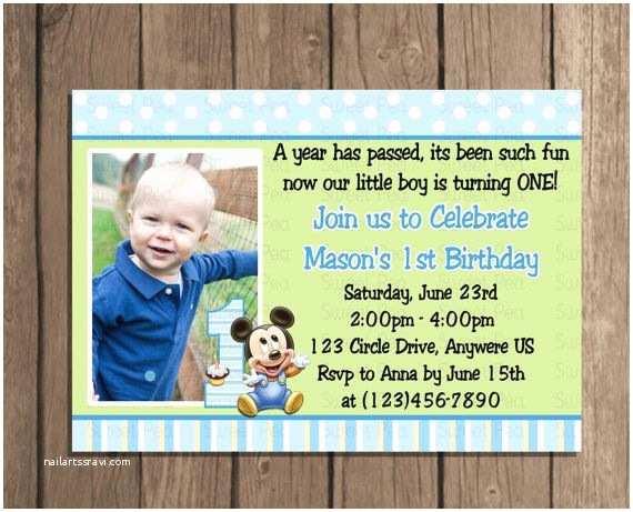 1st Birthday Invitations Boy Baby Mickey Mouse Boy 1st First Birthday Invitation or