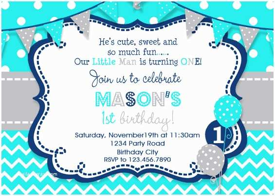 1st Birthday Invitations Boy Boys Invitation Party