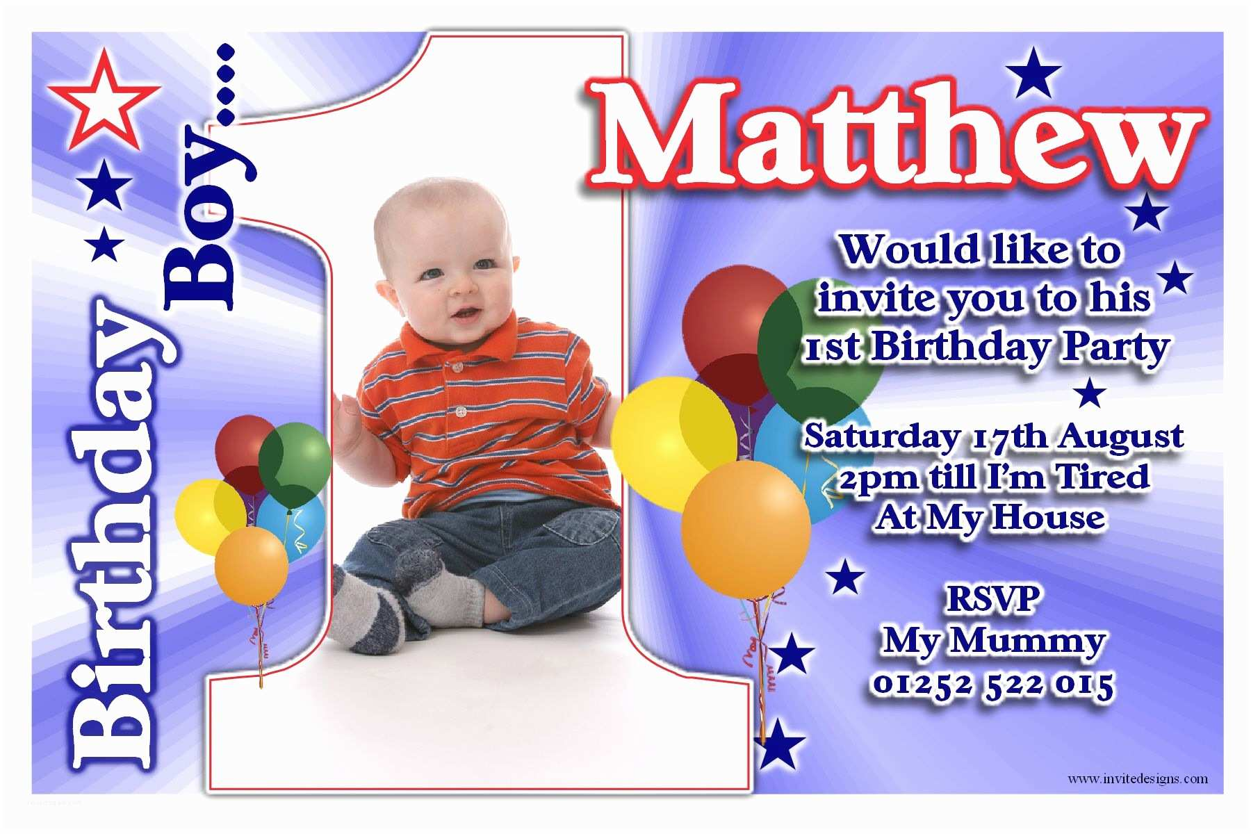 1st Birthday Invitations Boy Free Printable Party Template