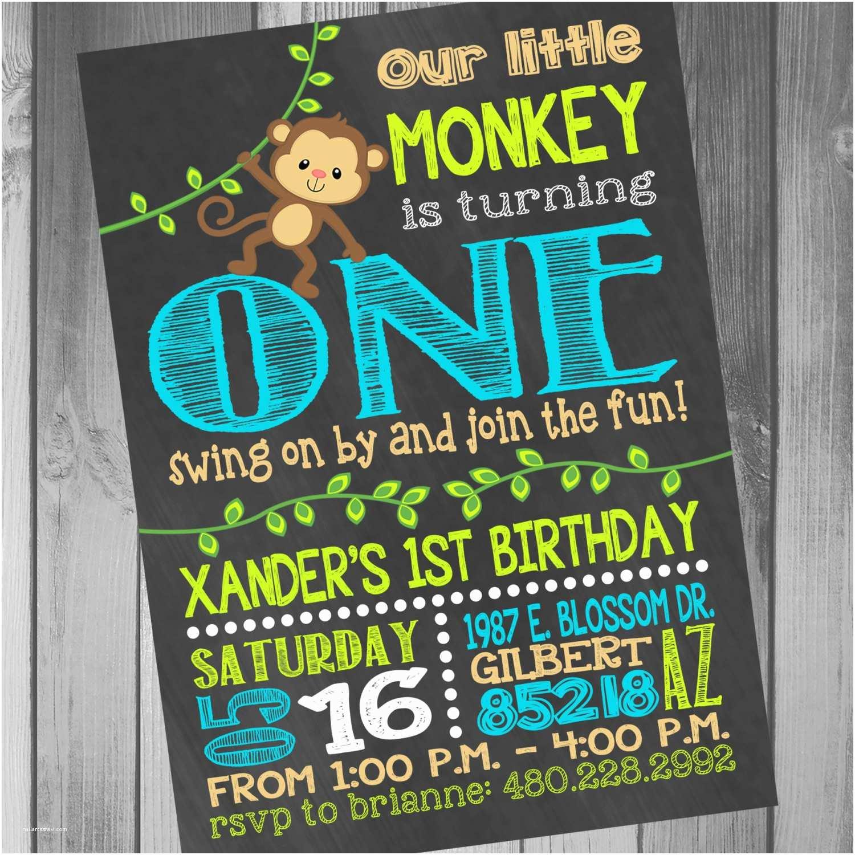 1st Birthday Invitations Boy Monkey Birthday Invitation Monkey Birthday Party Monkey