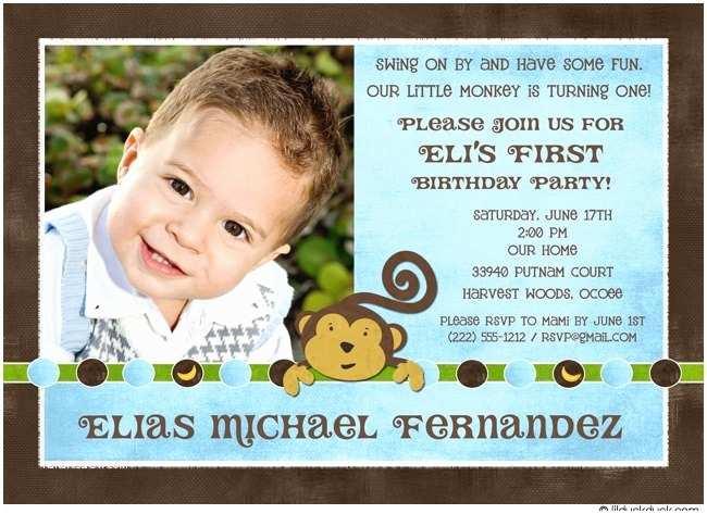 1st Birthday Invitations Boy Monkey First Invitation Blue Party