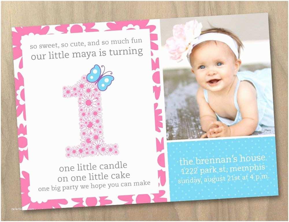 1st Birthday Invitations Girl Baby Girl First 1st Birthday Invitation Flowers