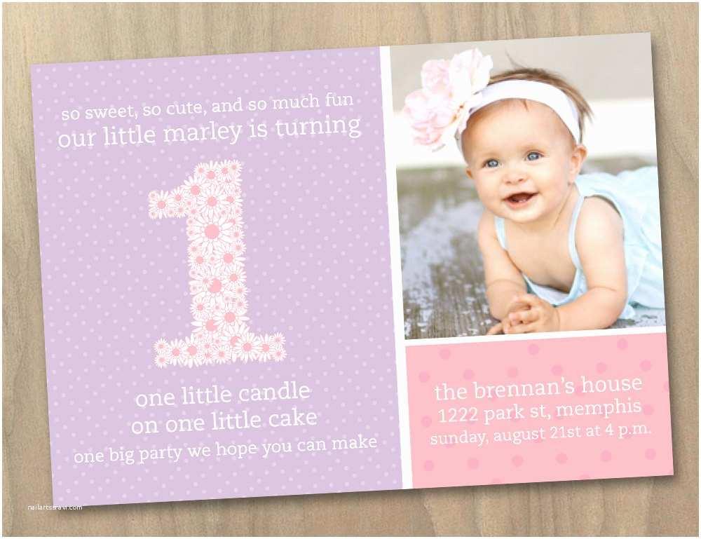 1st Birthday Invitations Girl Baby Girl First 1st Birthday Invitation Pink and