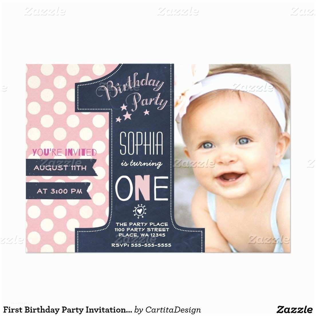 1st Birthday Invitations Girl First Birthday Party Invitation Girl Chalkboard