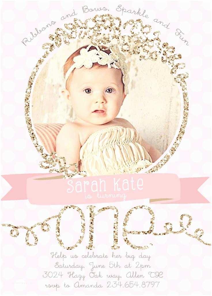 1st Birthday Invitations Girl Invitation Card for First Birthday Baby Girl Choice Image